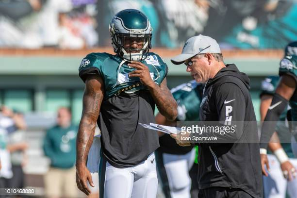 Philadelphia Eagles wide receiver Mike Wallace gets instructions from wide receivers coach Gunter Brewer during Eagles Training Camp on August 2 at...