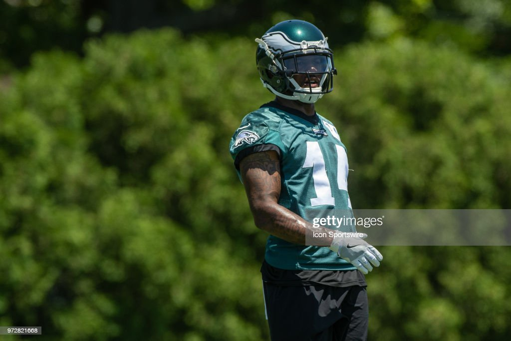Philadelphia Eagles wide receiver Mike Wallace (14) looks on during Eagles Minicamp Camp on June 12, 2018, at the NovaCare Complex in Philadelphia, PA.