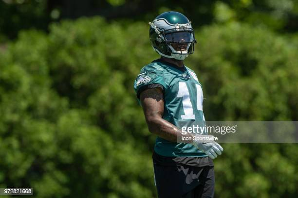 Philadelphia Eagles wide receiver Mike Wallace looks on during Eagles Minicamp Camp on June 12 at the NovaCare Complex in Philadelphia PA