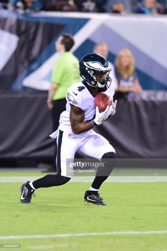 Philadelphia Eagles wide receiver Rashard Davis (4) carries the ball during a NFL preseason game between the Miami Dolphins and the Philadelphia Eagles on August 24, 2017 at Lincoln Financial Field in Philadelphia, PA. Eagles won 38-31.