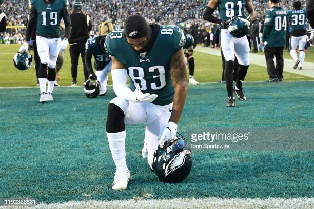 Philadelphia Eagles wide receiver Shelton Gibson takes a knee during the Playoff game between the Seattle Seahawks and the Philadelphia Eagles on...