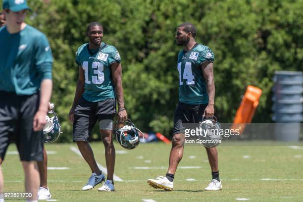 Philadelphia Eagles wide receivers Nelson Agholor and Mike Wallace during Eagles Minicamp Camp on June 12 at the NovaCare Complex in Philadelphia PA