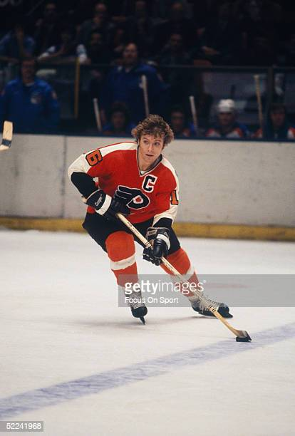 Philadelphia Flyers' Bobby Clarke looks for a pass during a game against the New York Rangers at Madison Square Garden circa 1978 in New York New York