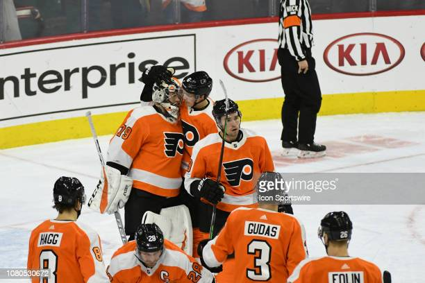 Philadelphia Flyers celebrate their win during the game between the Dallas Stars and the Philadelphia Flyers on January 10 2019 at Wells Fargo Center...