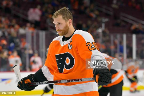 Philadelphia Flyers center Claude Giroux expectorates during the NHL game between the Columbus Blue Jackets and the Philadelphia Flyers on March 15...