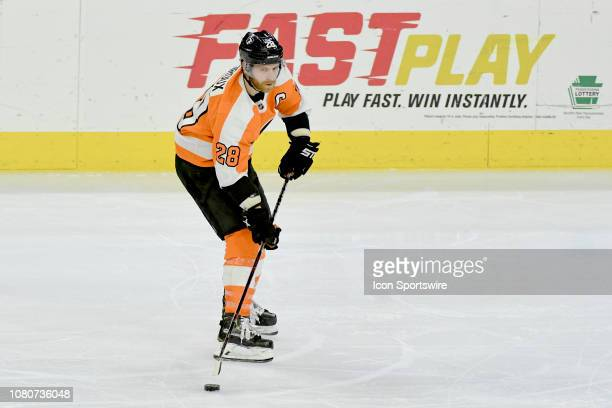 Philadelphia Flyers Center Claude Giroux skates with the puck during the game between the Dallas Stars and the Philadelphia Flyers on January 10 2019...