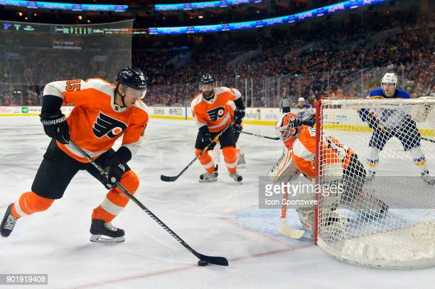 Philadelphia Flyers center Jori Lehtera gets the puck away from the net during the NHL game between the St Louis Blues and the Philadelphia Flyers on...