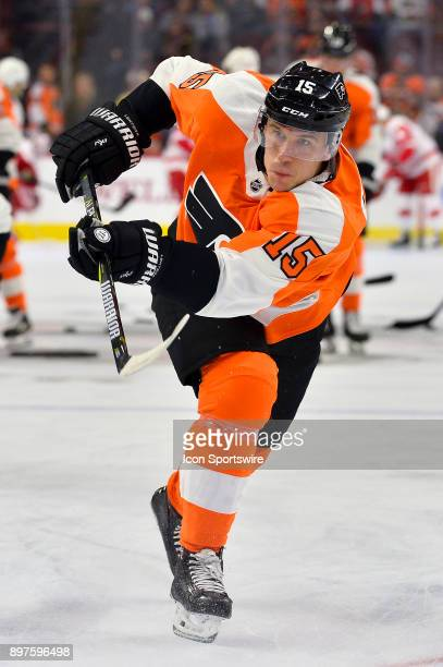 Philadelphia Flyers center Jori Lehtera warms up before the NHL game between the Detroit Red Wings and the Philadelphia Flyers on December 20 2017 at...