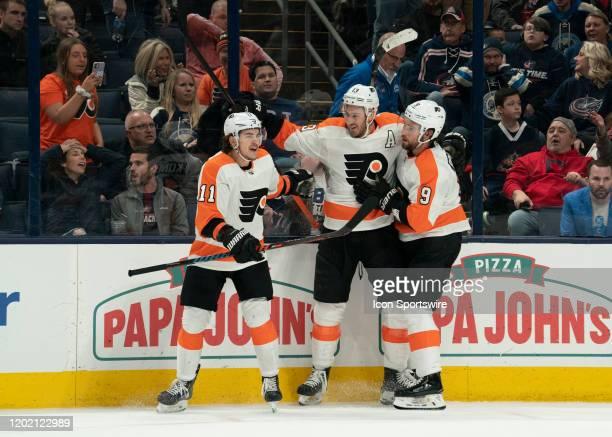Philadelphia Flyers center Kevin Hayes , Philadelphia Flyers right wing Travis Konecny and Philadelphia Flyers defenseman Ivan Provorov celebrate a...
