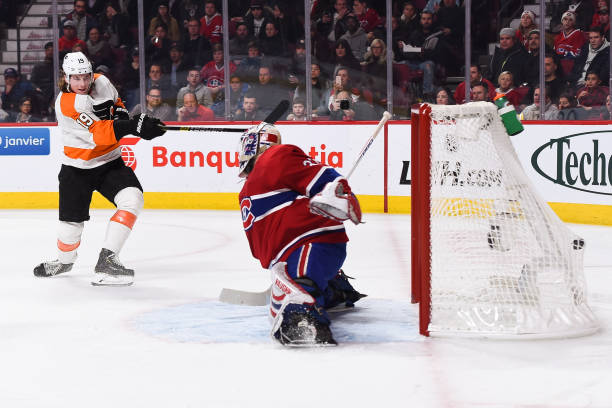 Philadelphia Flyers center Nolan Patrick scores a goal during the Philadelphia Flyers versus the Montreal Canadiens game on January 19 at Bell Centre...