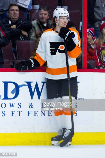 Philadelphia Flyers Center Nolan Patrick takes a moment during warmup before National Hockey League action between the Philadelphia Flyers and Ottawa...
