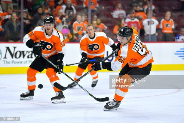 Philadelphia Flyers center Valtteri Filppula and Philadelphia Flyers center Jori Lehtera warm up during the NHL game between the Montreal Canadiens...