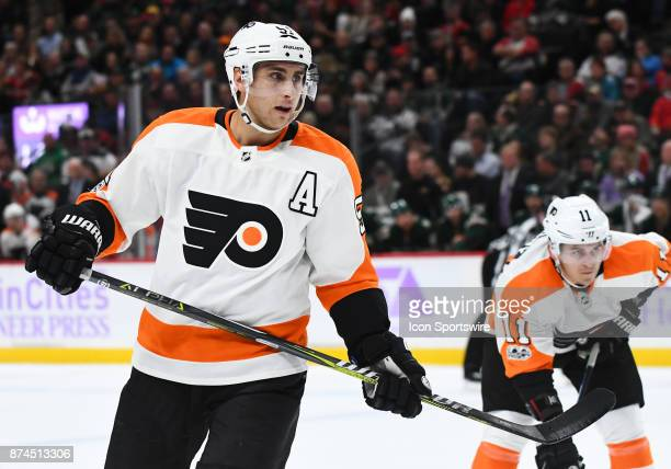 Philadelphia Flyers Center Valtteri Filppula enters the faceoff circle during a NHL game between the Minnesota Wild and Philadelphia Flyers on...