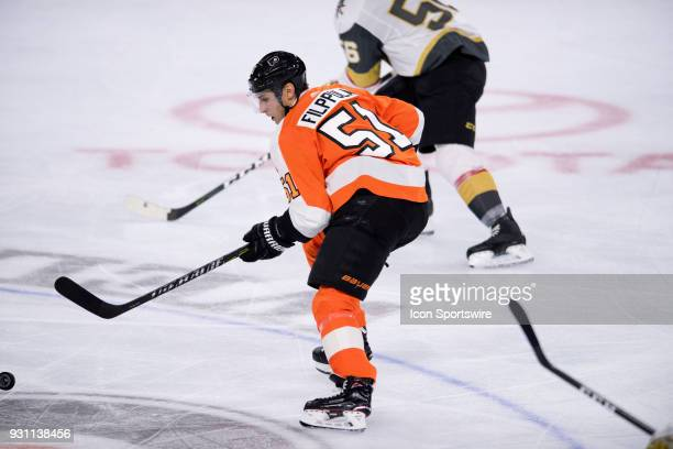 Philadelphia Flyers Center Valtteri Filppula gathers the puck in the second period during the game between the Vegas Golden Knights and Philadelphia...