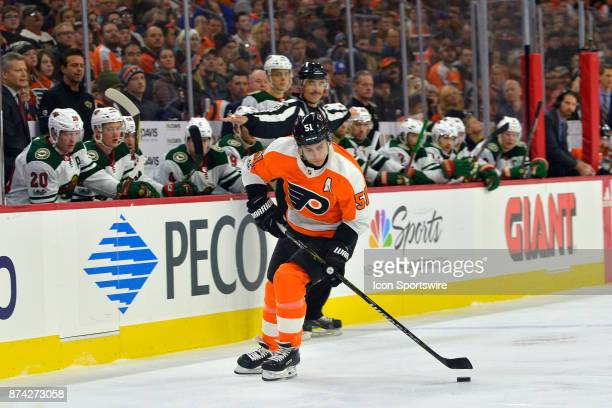 Philadelphia Flyers center Valtteri Filppula handles the puck during the NHL game between the Minnesota Wild and the Philadelphia Flyers on November...