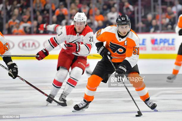 Philadelphia Flyers center Valtteri Filppula handles the puck during the NHL game between the Carolina Hurricanes and the Philadelphia Flyers on...