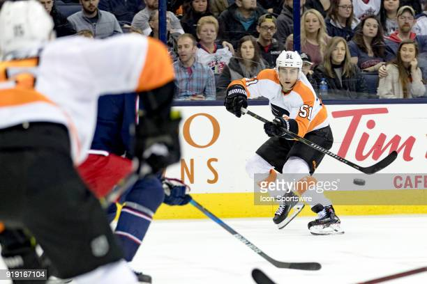 Philadelphia Flyers center Valtteri Filppula passes the puck in a game between the Columbus Blue Jackets and the Philadelphia Flyers on February 16...