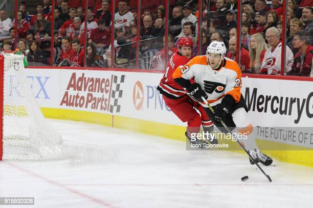 Philadelphia Flyers Defenceman Brandon Manning and Carolina Hurricanes Right Wing Lee Stempniak during the 1st period of the Carolina Hurricanes game...