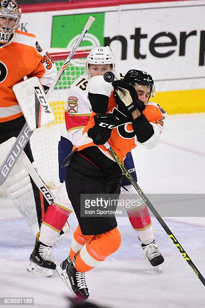Philadelphia Flyers Defenceman Brandon Manning blocks a high shot during a National Hockey League game between the Florida Panthers and the...