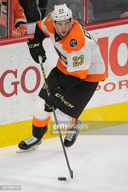 Philadelphia Flyers Defenceman Brandon Manning skates with the puck during a National Hockey League game between the Chicago Blackhawks and the...