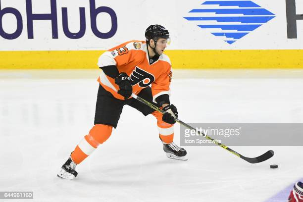 Philadelphia Flyers Defenceman Brandon Manning skates with the puck during a National Hockey League game between the Washington Capitals and the...