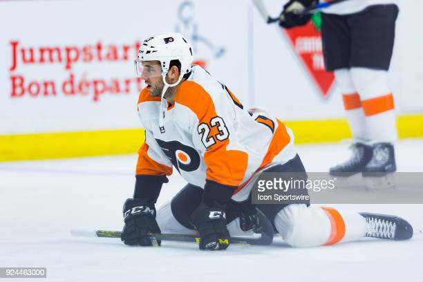 Philadelphia Flyers Defenceman Brandon Manning stretches during warmup before National Hockey League action between the Philadelphia Flyers and...