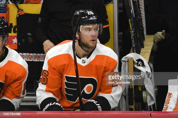 Philadelphia Flyers Defenceman Christian Folin looks on during the regular season game between the Colorado Avalanche and the Philadelphia Flyers on...