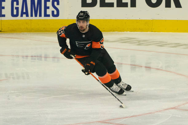 Philadelphia Flyers Defenceman Erik Gustafsson skates with the puck during the first period of a National Hockey League game between the Pittsburgh...