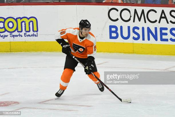Philadelphia Flyers Defenceman Ivan Provorov looks to pass during the game between the Dallas Stars and the Philadelphia Flyers on January 10 2019 at...