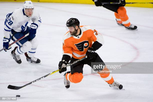Philadelphia Flyers Defenceman Radko Gudas collects the puck in the first period during the game between the Toronto Maple Leafs and Philadelphia...