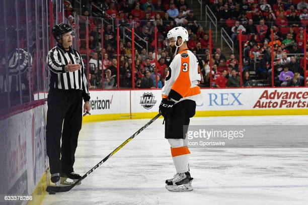 Philadelphia Flyers Defenceman Radko Gudas disagrees with an offsides call in a game between the Philadelphia Flyers and the Carolina Hurricanes at...