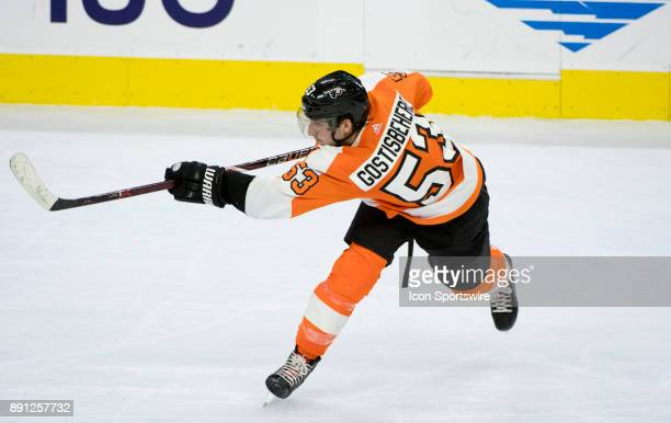 Philadelphia Flyers Defenceman Shayne Gostisbehere takes a shot in the third period during the game between the Toronto Maple Leafs and Philadelphia...