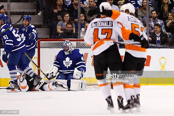 TORONTO ON  FEBRUARY 20 Philadelphia Flyers defenseman Andrew MacDonald and Philadelphia Flyers defenseman Shayne Gostisbehere celebrate after...