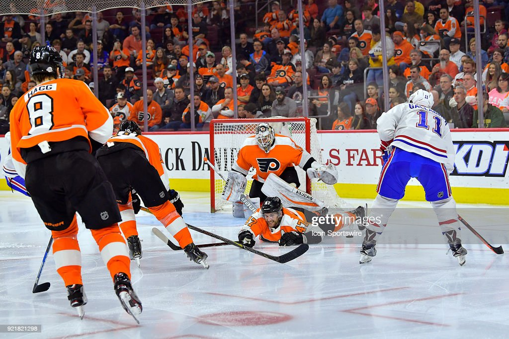 Philadelphia Flyers defenseman Andrew MacDonald (47) helps defends the net during the NHL game between the Montreal Canadiens and the Philadelphia Flyers on February 20, 2018 at the Wells Fargo Center in Philadelphia PA.