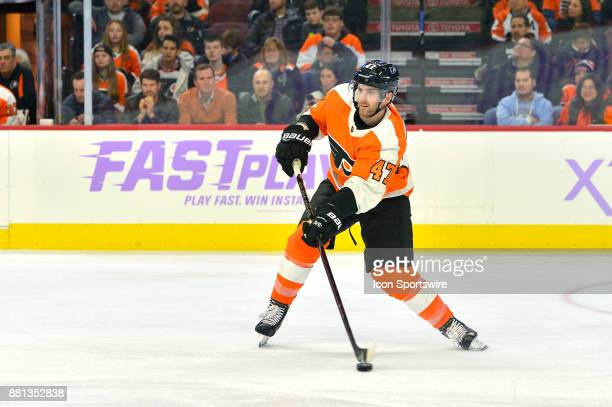 Philadelphia Flyers defenseman Andrew MacDonald passes during the NHL game between the San Jose Sharks and the Philadelphia Flyers on November 28...
