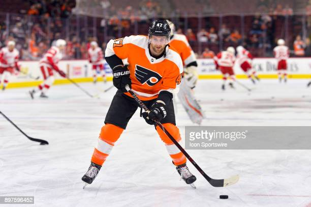 Philadelphia Flyers defenseman Andrew MacDonald warms up before the NHL game between the Detroit Red Wings and the Philadelphia Flyers on December 20...