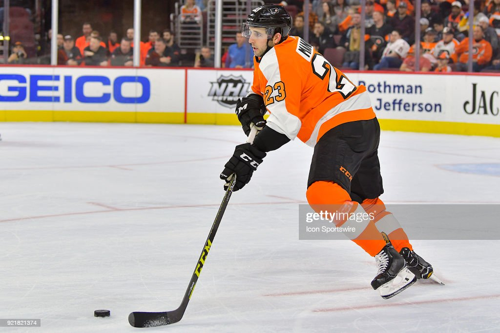 Philadelphia Flyers defenseman Brandon Manning (23) looks to pass during the NHL game between the Montreal Canadiens and the Philadelphia Flyers on February 20, 2018 at the Wells Fargo Center in Philadelphia PA.