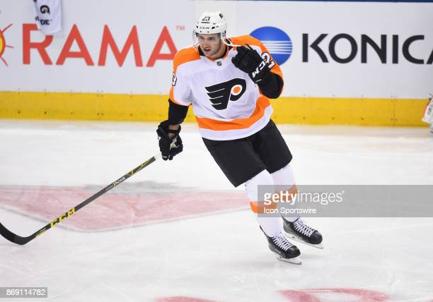 Philadelphia Flyers defenseman Brandon Manning skates during the warm up before a game between the Philadelphia Flyers and the Toronto Maple Leafs on...
