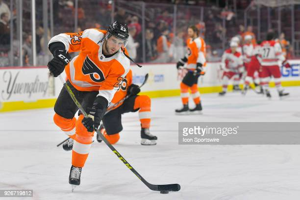 Philadelphia Flyers defenseman Brandon Manning warms up before the NHL game between the Carolina Hurricanes and the Philadelphia Flyers on March 01...
