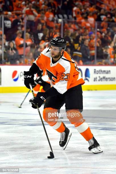Philadelphia Flyers defenseman Brandon Manning warms up before the NHL game between the Pittsburgh Penguins and the Philadelphia Flyers on April 15...