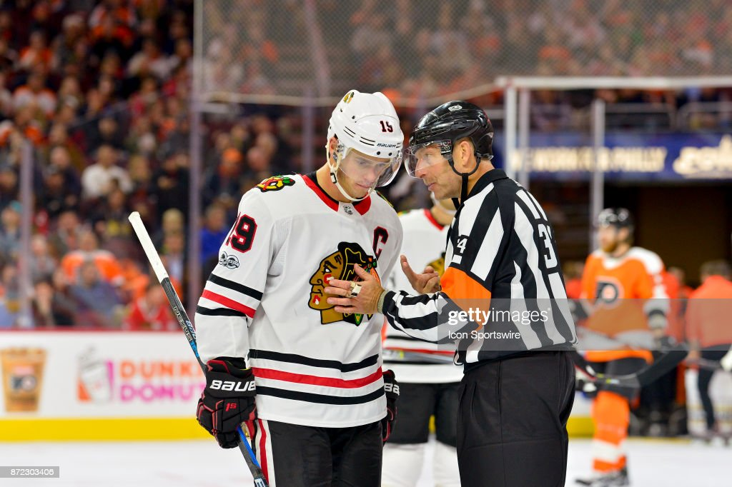 Philadelphia Flyers defenseman Ivan Provorov (9) gets a talking to by referee Brad Meier (34) during the NHL game between the Chicago Blackhawks and the Philadelphia Flyers on November 09, 2017 at the Wells Fargo Center in Philadelphia PA.