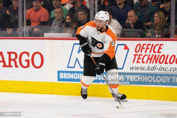 Philadelphia Flyers Defenseman Ivan Provorov skates with the puck during the third period of a National Hockey League game between the Boston Bruins...