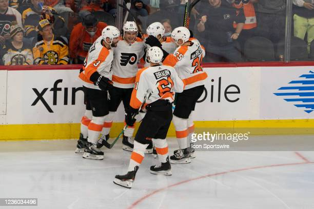 Philadelphia Flyers Defenseman Keith Yandle and Philadelphia Flyers Left Wing Oskar Lindblom and Philadelphia Flyers Left Wing James vn Riemsdyk and...