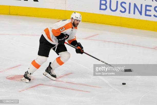 Philadelphia Flyers Defenseman Keith Yandle controls the puck during the second period of a National Hockey League game between the Boston Bruins and...