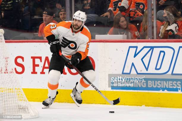 Philadelphia Flyers Defenseman Keith Yandle controls the puck during the third period of a National Hockey League game between the Boston Bruins and...
