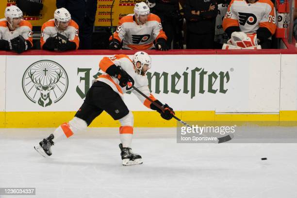 Philadelphia Flyers Defenseman Keith Yandle takes a shot on goal during the second period of a National Hockey League game between the Boston Bruins...