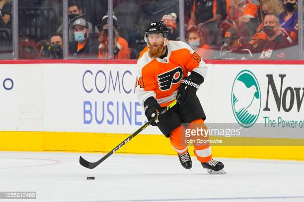 Philadelphia Flyers Defenseman Ryan Ellis controls the puck during the first period of the National Hockey League game between the New York Islanders...