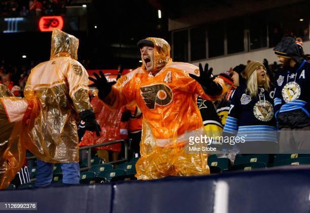 Philadelphia Flyers fan reacts after the Philadelphia Flyers won in overtime win on a goal by captain Claude Giroux of the Philadelphia Flyers during...