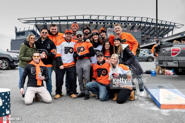 Philadelphia Flyers fans arrived early to tailgate before the Stadium Series game between the Pittsburgh Penguins and the Philadelphia Flyers on...