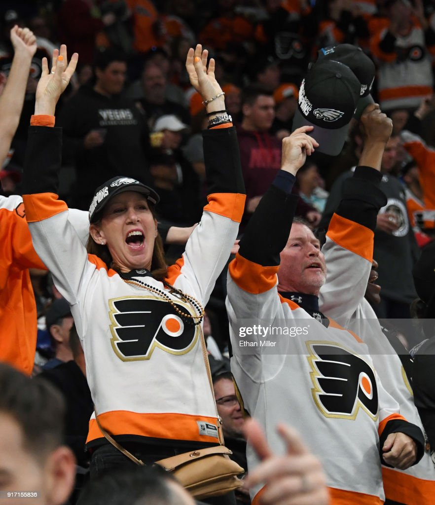 Philadelphia Flyers fans celebrate during the team's 4-1 victory over the Vegas Golden Knights at T-Mobile Arena on February 11, 2018 in Las Vegas, Nevada.